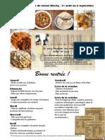 Menu de La Cuisine de Meme Moniq 31 Aout Au 6 Septembre