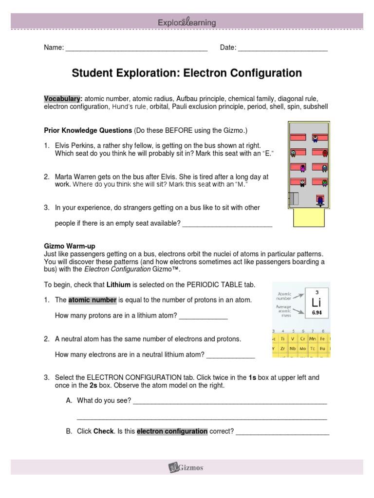 ElectronConfigurationSE Electron Configuration – Electron Configuration Worksheet Answer Key