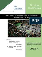 Laboratorio 10 Amplificador Realimentado, Configuración Derivación Serie