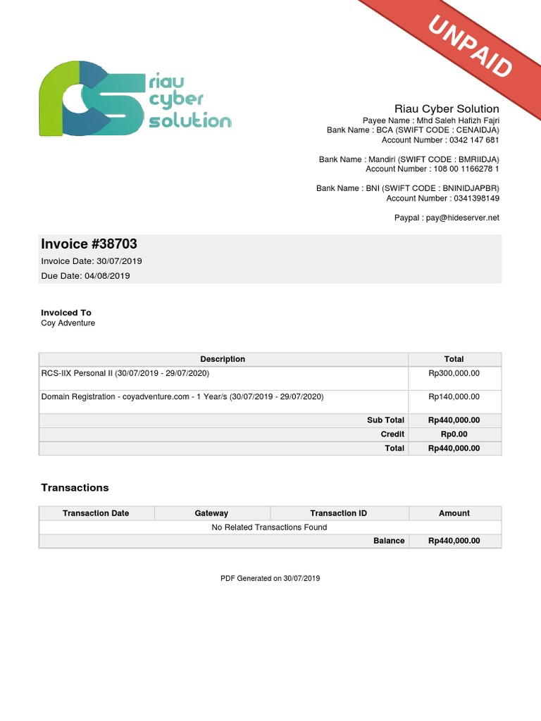 Invoice 38703 Riau Cyber Solution Banking Service Industries