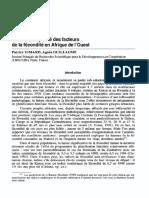 Vers La Multiplicité Des Facteurs de La Fécondité en Afrique de l'Ouest