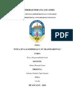 Etica en Las Empresas y Su Transparencia