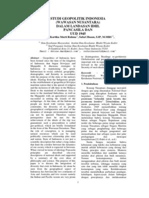 Essay Geopolitik Dengan Sumpah Pemuda Studi Geopolitik Indonesia Wawasan Nusantara Dalam Landasan Idiil Pancasila Dan Uud 1945 Indonesia Politics