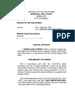 Judicial Affidavit- Queen Leah Avenue
