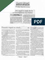Manila Bulletin, Sept. 12, 2019, Duterte urged to crack down on unscrupulous rice traders.pdf