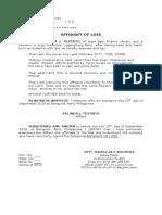 Affidavit of Loss- ATM