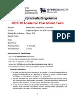 Construction Economics - Exam 2019 Model Paper