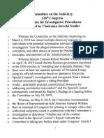 Judiciary House BILLS 116 Resolution for Investigative Procedures - Blueprint for Impeachment