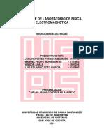 Informe de laboratorio Física electromagnética Mediciones Eléctricas Parte 1 UFPS