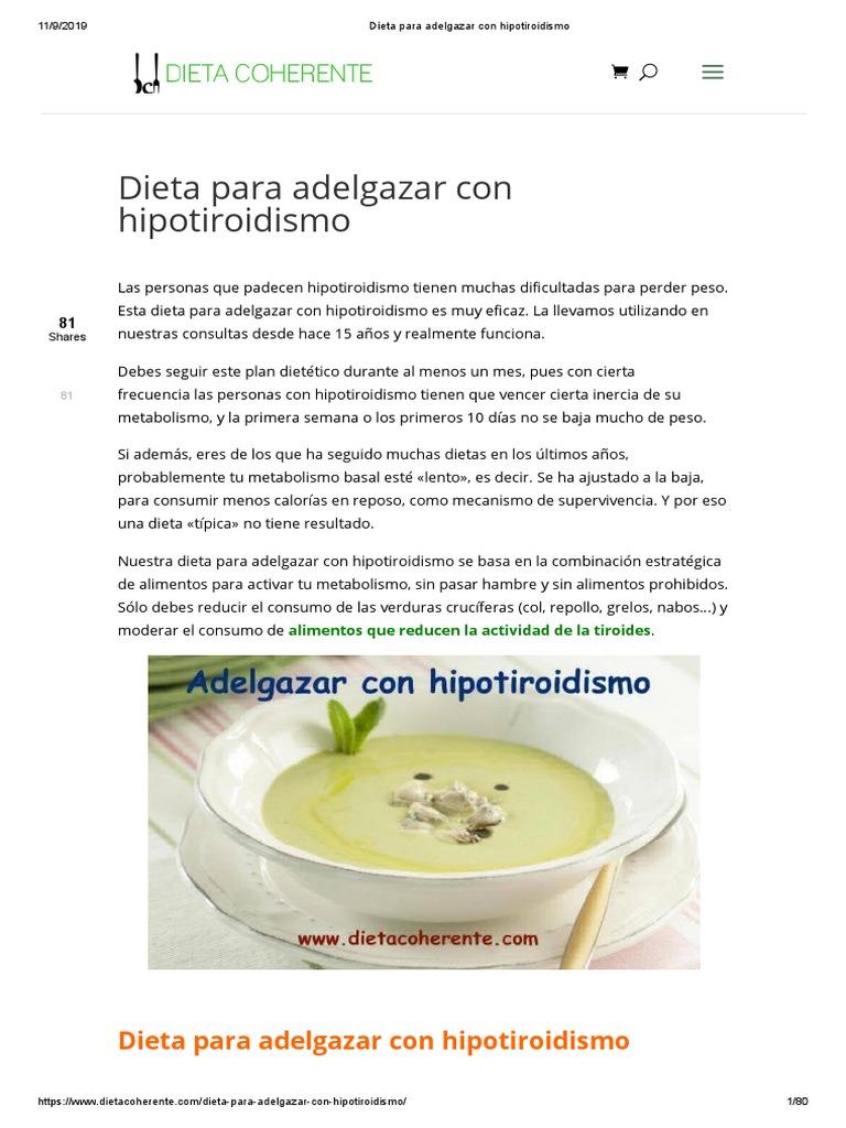 Dieta Para Adelgazar Con Hipotiroidismo Dieta Alimentos