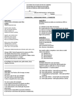 Prova Terceiro Bimestre de Lingua Portuguesa 1 Ano Salim Turmas 1004 e 1005