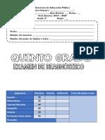 EXAMEN DIAGNOSTICO QUINTO GRADO