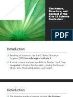 The Nature, Structure, And Content of the K to 12 Science Curriculum