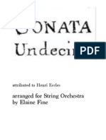 Eccles Sonata Undecimo for String Orchestra Score and Parts