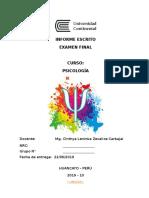 Formato Del Informe Escrito Examen Final de Psicología 2019-10