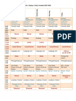 daily schedule 2019 20
