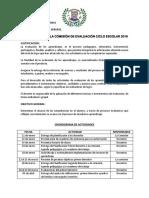 Planificación Comision de Evaluación Ciclo Escolar 2019