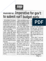 Tempo, Sept. 13, 2019, Romero Imperative for govt to submit nat'l budget early.pdf