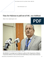 Time for Pakistan to Pull Out of OIC, Says Rabbani - Pakistan - DAWN.com