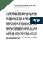 A Checklist of Aquatic Invertebrates Along Enugu l.g.a. Area of Enugu State