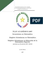 Plan estudio matemáticas 2007