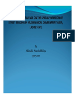 THE LAND-USE INFLUENCE ON SPATIAL VARIATION OF STREET BEGGING IN MUSHIN LOCAL GOVERNMENT AREA OF LAGOS STATE NIGERIA