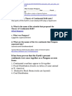 Continental Drift and Plate Tectonics Webquest - Answers
