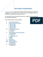 Pre Employment Requirements