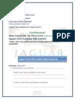 Jaguar Cars Company Uk Ltd Onlineinterview
