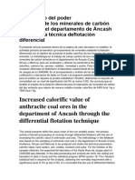 Incremento del poder calorífico de los minerales de carbón antracita del departamento de Áncash mediante la técnica de flotación diferencial