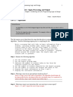Lab 1 Input, Processing and Output (Programming Logic and Design)