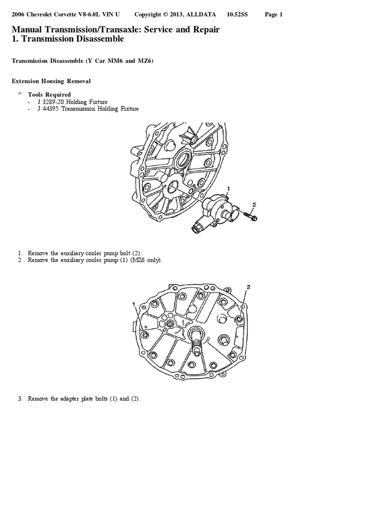 Manual Transmission/Transaxle: Service and Repair 1