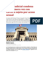 Poder Judicial condena por primera vez con cárcel a sujeto por acoso sexual