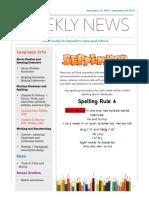 weekly newsletter- september 16-20
