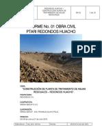 Informe No. 01 Obra Civil Ptari Redondos Al 31.07.19