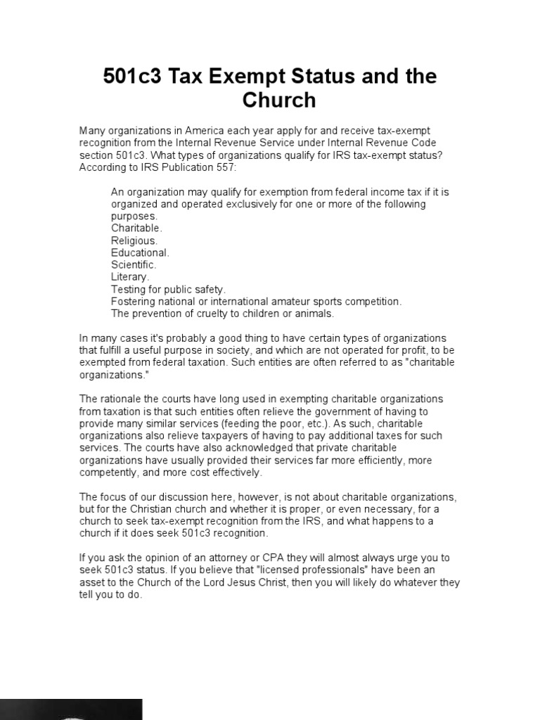 501c3 tax exempt status and the church charitable organization