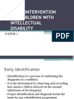 Early Intervention for Children With Intellectual Disability