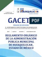 GACETA 2 SECCIÓN II.-reglamento Organico de La Administración Pública Municipal de Huixquilucan