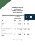 2.2.2 Calendarización de Talleres de Educación Especial (4)