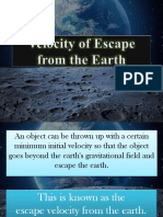 Velocity of Escape From Earth