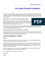 Sample Employee Email Farewell Message
