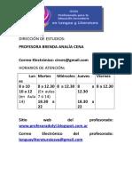 Horarios de La Direccion de Estudios.