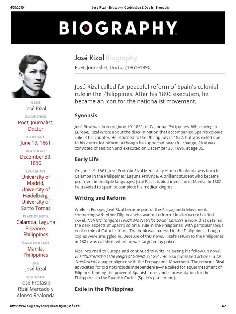 Jose Rizal   Education, Contribution & Death   Biography ...