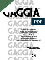 Gaggia Titanium English Manual Espresso Machine