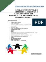 2342 - 13 de Setembro de 2019 - Protocolo Municipal de Atendimento à Criança e Adolescente Em Situação de Acolhimento Institucional