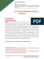 Determinants of Rural Household Saving i