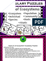 Parts of Ecosystems Vocabulary Puzzles Freebie