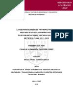LA GESTIÓN DE RIESGOS Y SU IMPACTO EN LA RENTABILIDAD DE LAS EMPRESAS DE TELECOMUNICACIONES UBICADAS EN LIMA METROPOLITANA 2012 - 2015