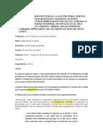 SOLICITUD DE PRESCRIPCIÓN DE LA ACCIÓN PENAL