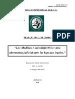 Las Medidas Autosatisfactivas Una Alternativa Judicial Ante Las Lagunas Legales